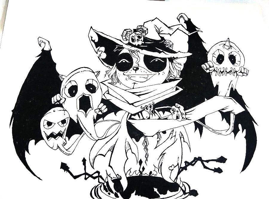 手绘黑白插画-熊猫兄