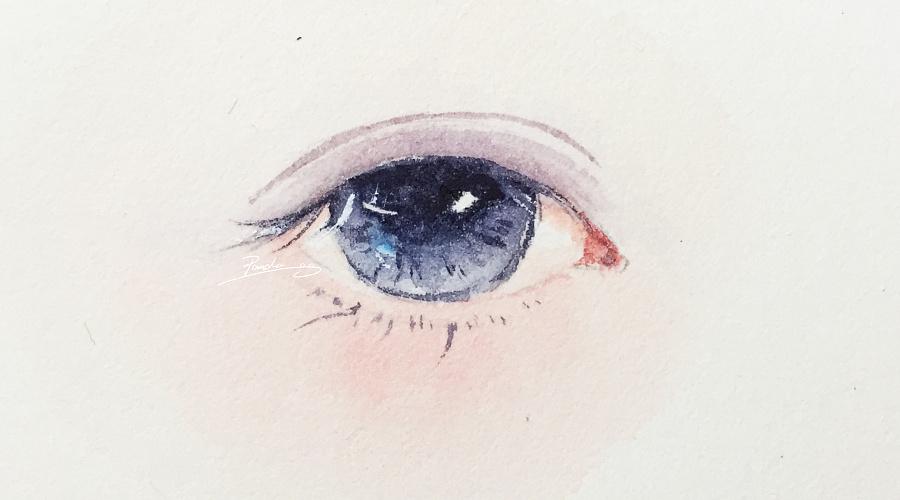 【小熊猫】水彩手绘人物水彩五官眼睛教程人物卡通