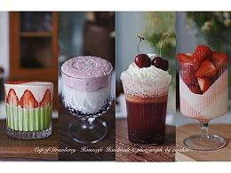vlog·抹茶草莓 车厘子牛奶 车厘子乌龙 草莓布丁