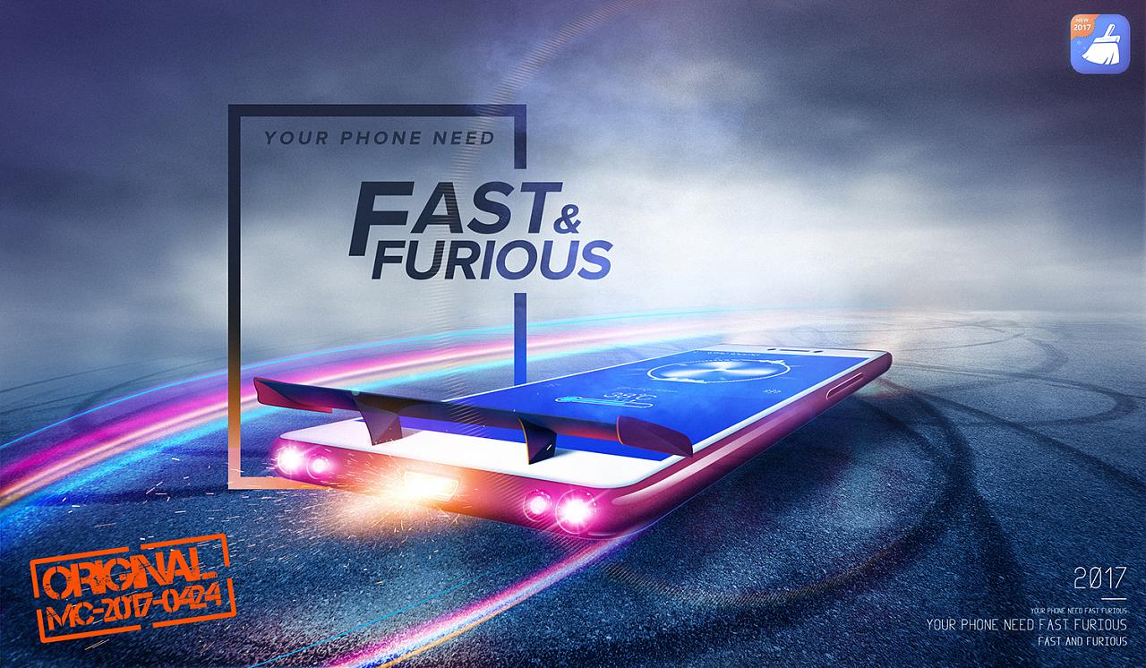 以速度与激情8为主图延伸的加速app创意广告,主要变现app加快手机速度