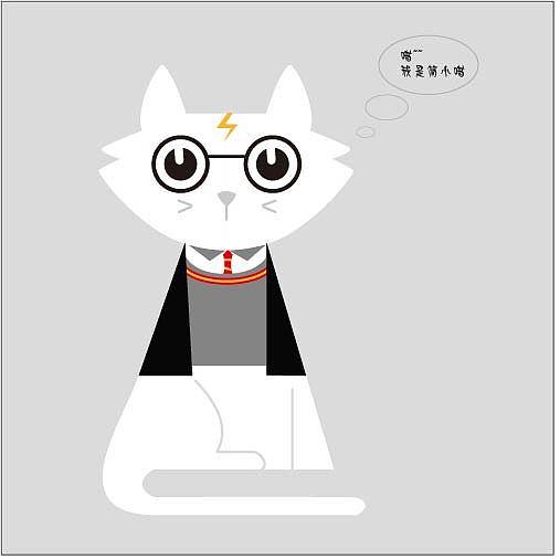 练习-绅士猫咪插画设计