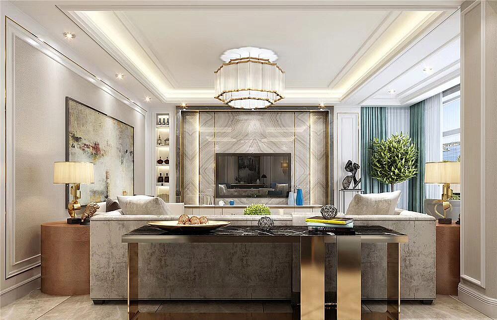 龙湖上第350平法式轻奢风格别墅装修样板间设计