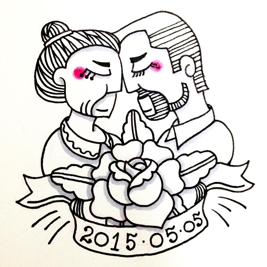 手绘线描插画 关于爱情