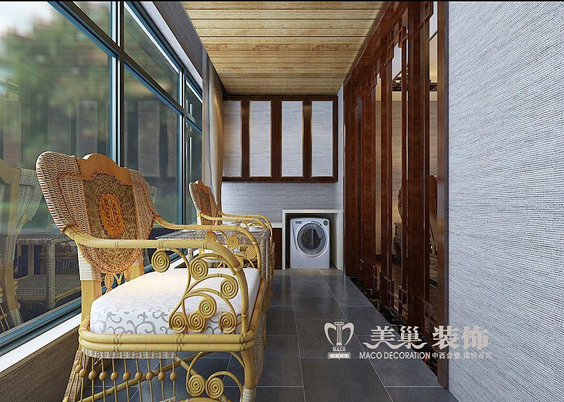 祝福紅城3室2廳裝修中式案例效果圖,陽臺休閑區圖片