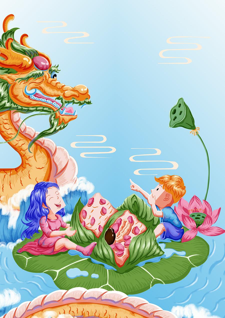 《粽叶飘香,端午安康》|儿童插画|插画|爱怜梨 - 原创