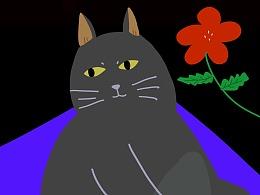 illustration / Cat / Flower / Woman / Threemeow