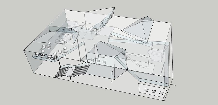 房子橱窗手绘图