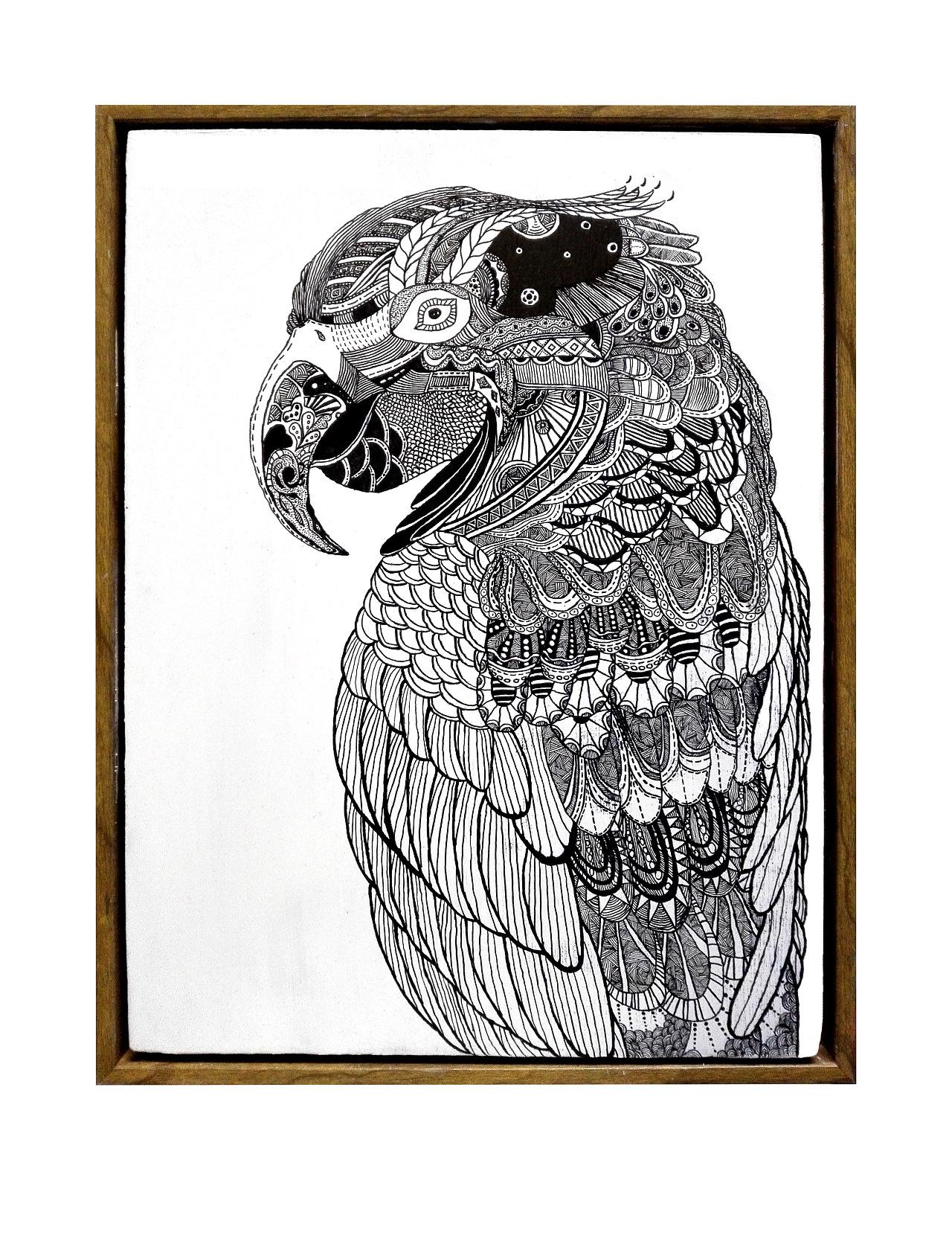 手绘黑白画-鹦鹉