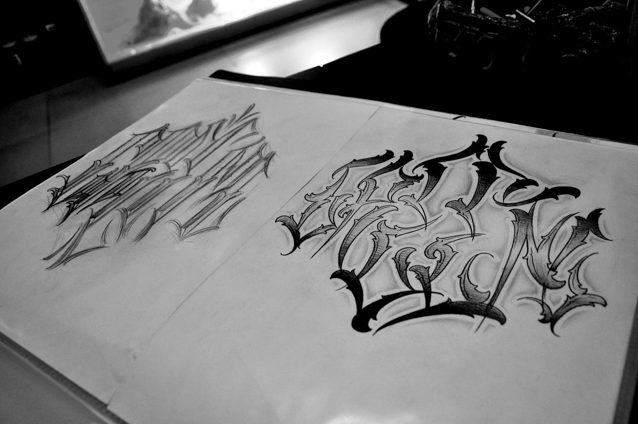 奇卡诺花体字原创v平面BTOtattoo原平面教程设计师视频刺青图片