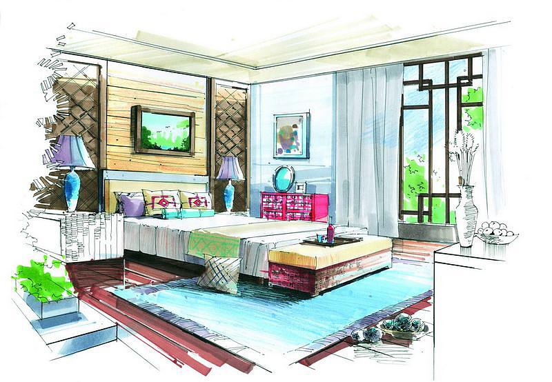 马克笔室内上色|空间|室内设计|wj吴佳 - 原创作品