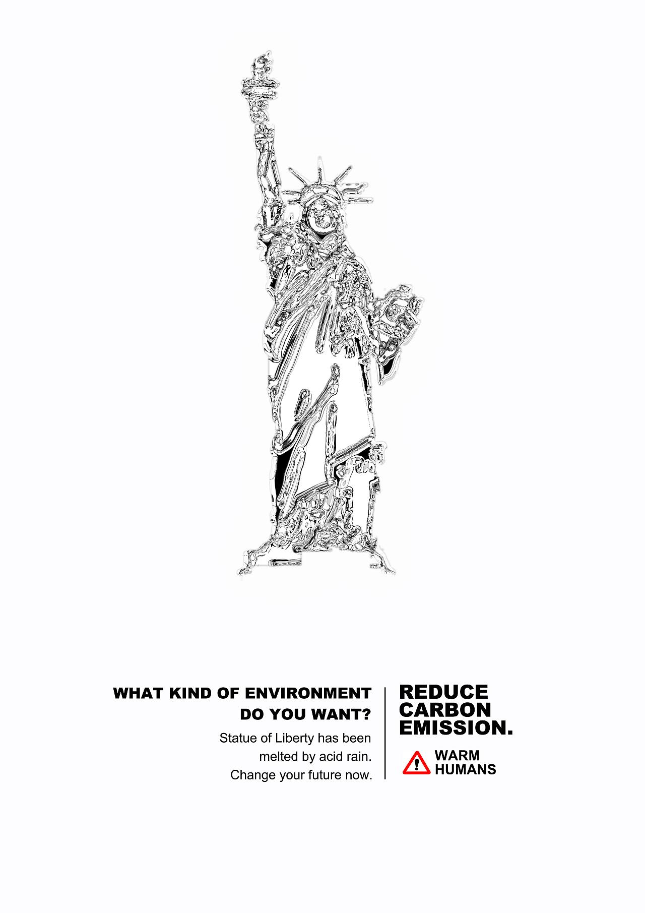 为酸雨做的一张早期环保海报,把自由女神像