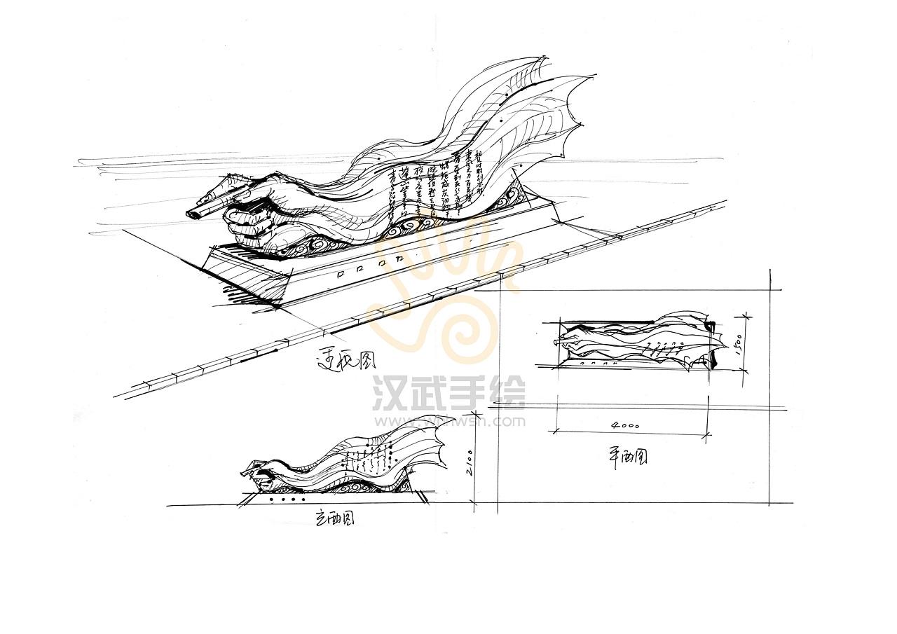 景观雕塑设计线稿草图分享