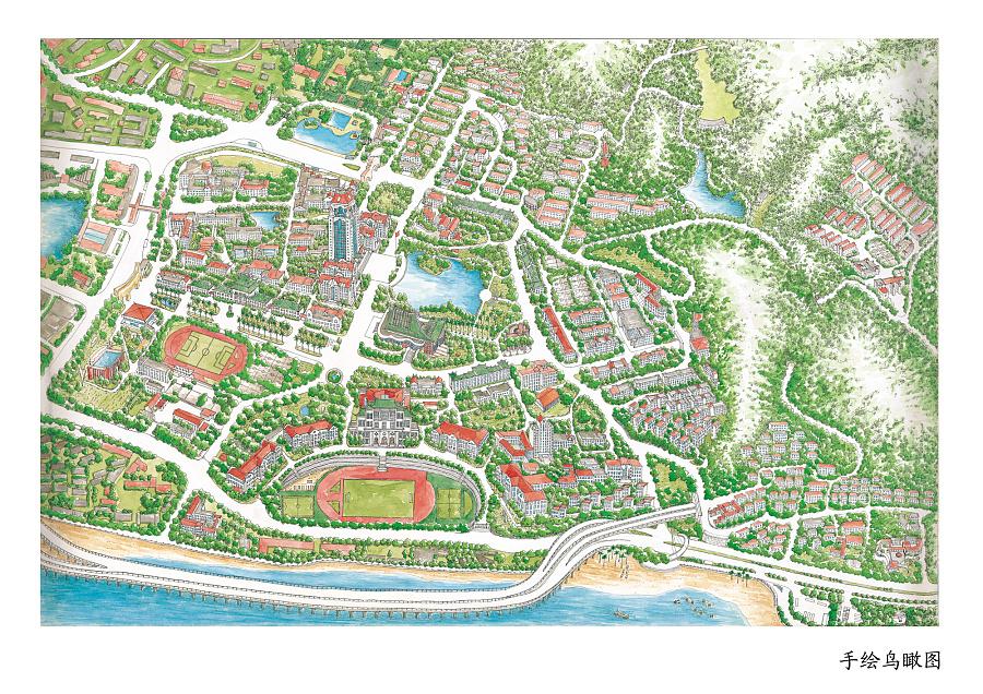 厦门大学手绘地图|商业插画|插画|超超的鱼线