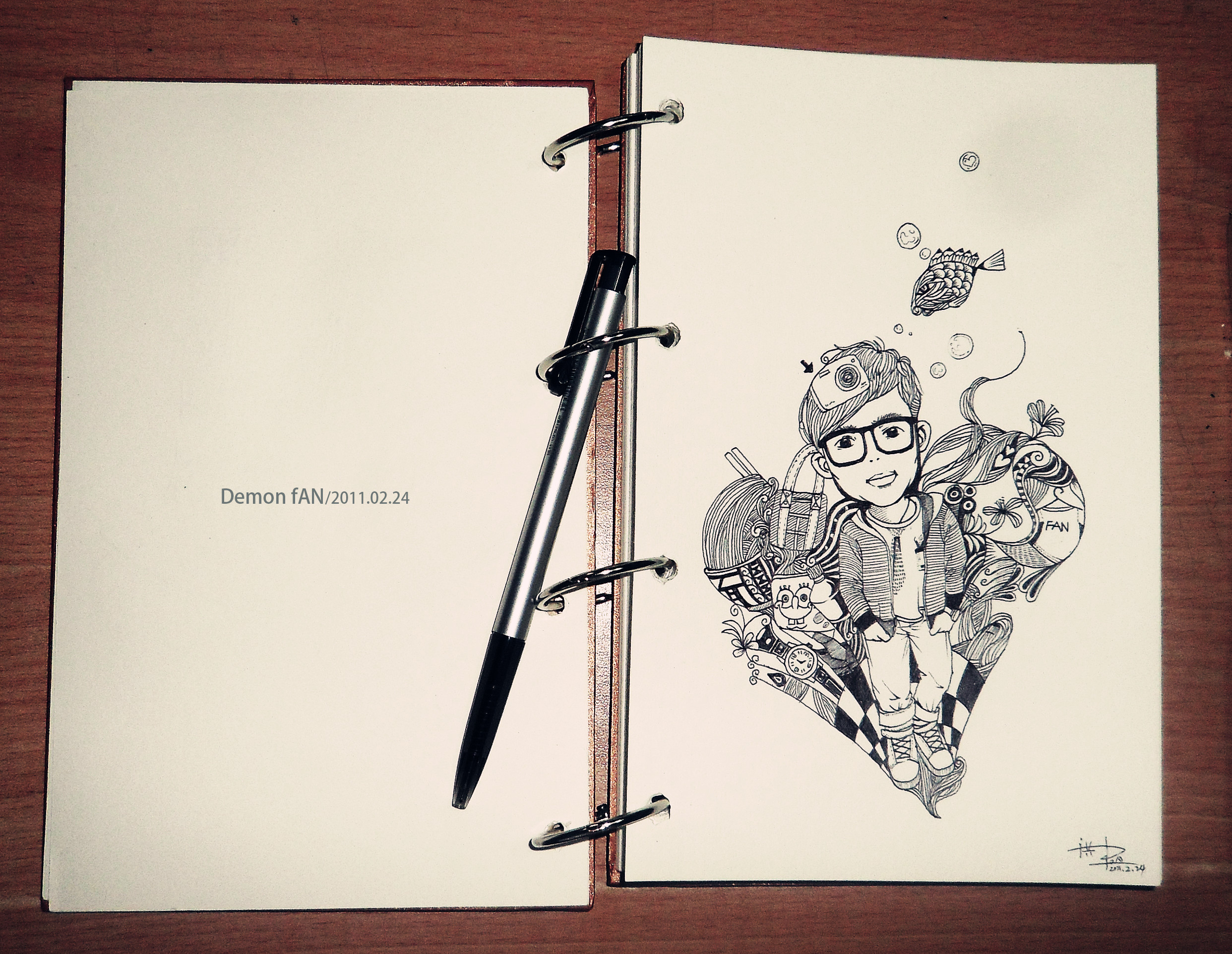 圆珠笔手绘.