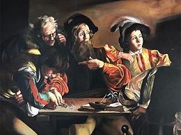 油画手绘墙|墙面人物彩绘|圣马太蒙召彩绘