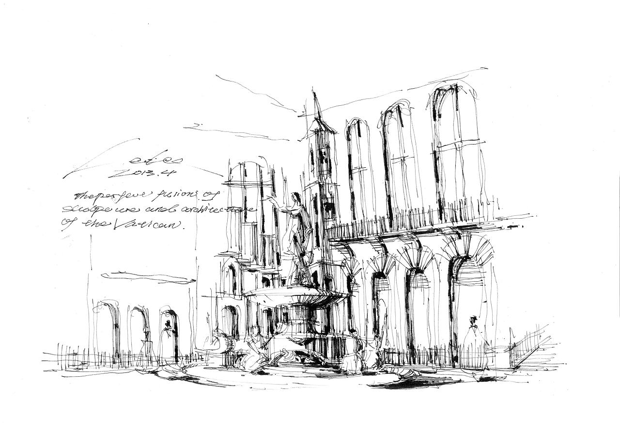 景观雕塑与周围建筑的完融合.