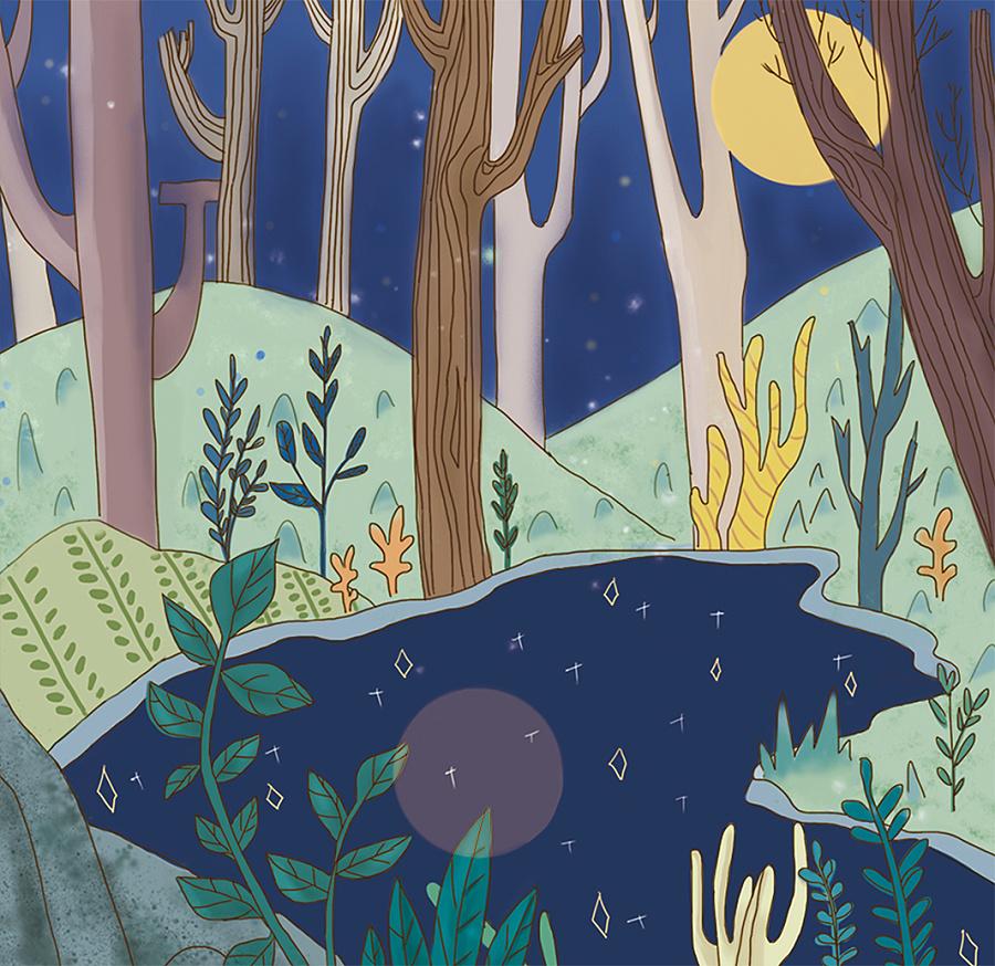 绘本创作《下雨天也许你会遇见一只恐龙》 儿童插画图片