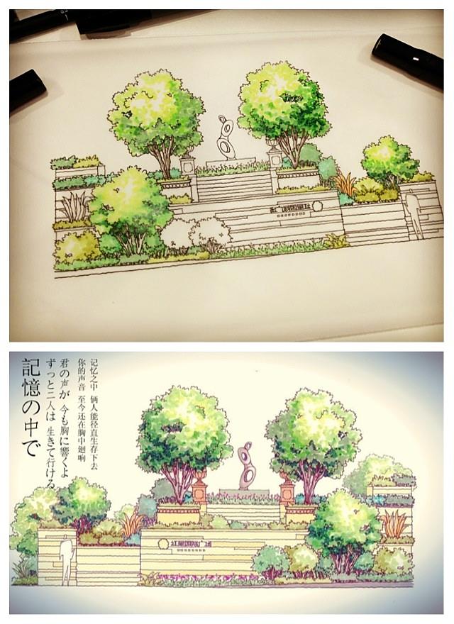 小景观手绘稿
