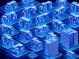 2.5D科技感建筑图标
