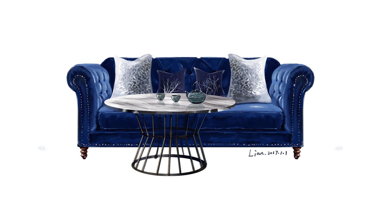 透视手绘沙发单体