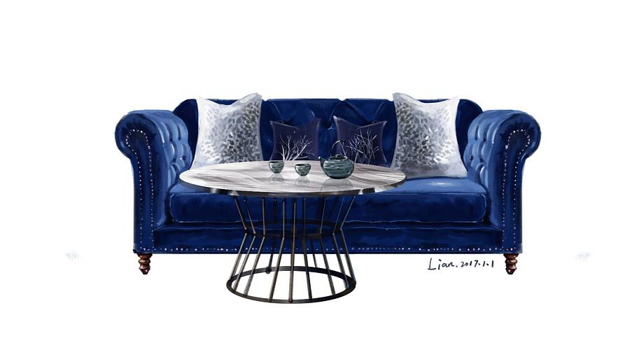 一点透视室内手绘沙发