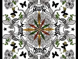 手绘动物组合图案丝巾/t恤设计图片
