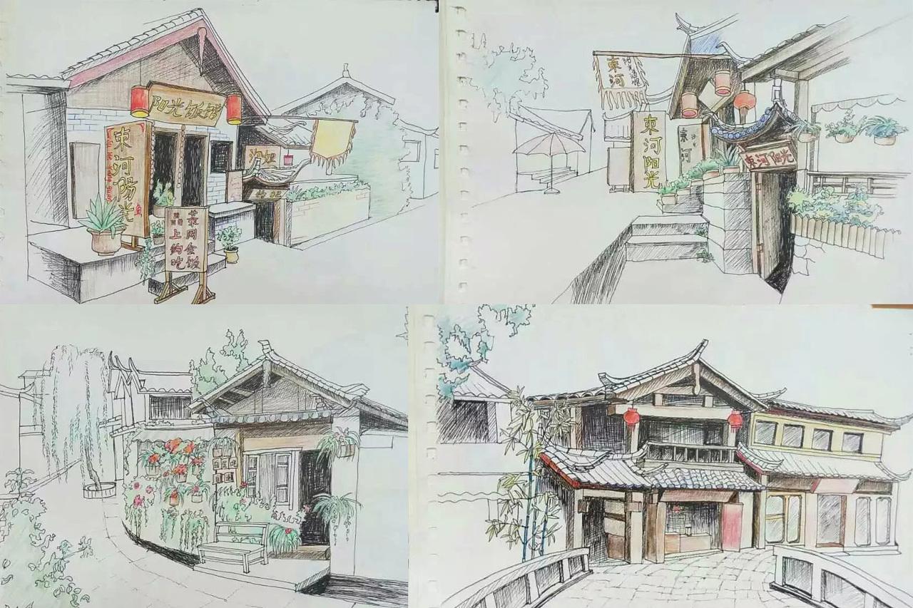 丽江写生手绘作品
