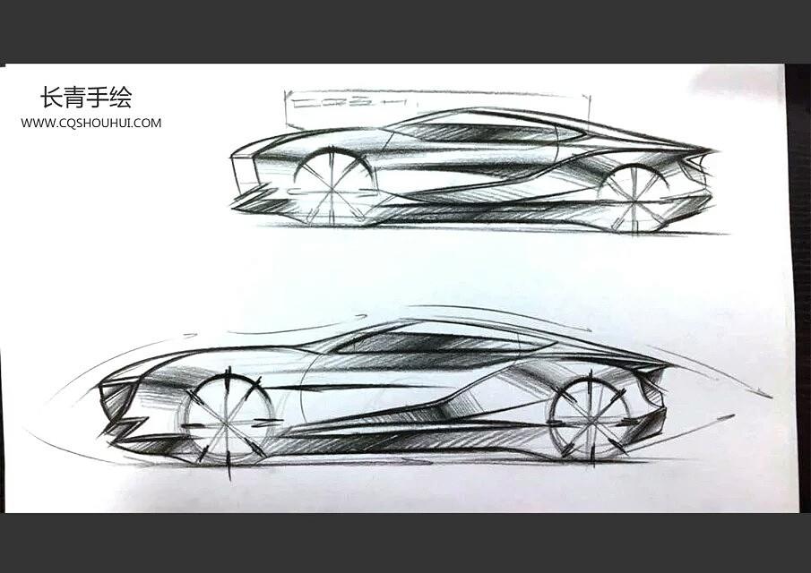 汽车设计正侧手绘图|工业/产品|交通工具|长青手绘