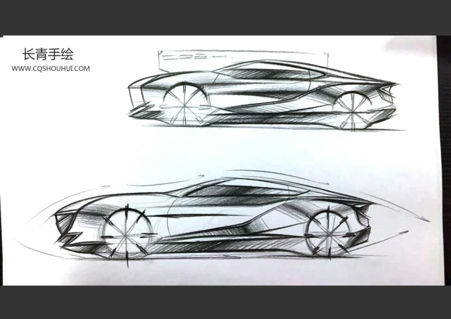 汽车设计正侧手绘图