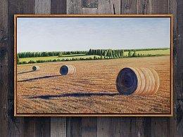 油画作品《丰收后的麦田》