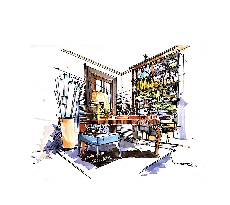 室内手绘|空间|室内设计|佑要买书 - 原创作品 - 站酷