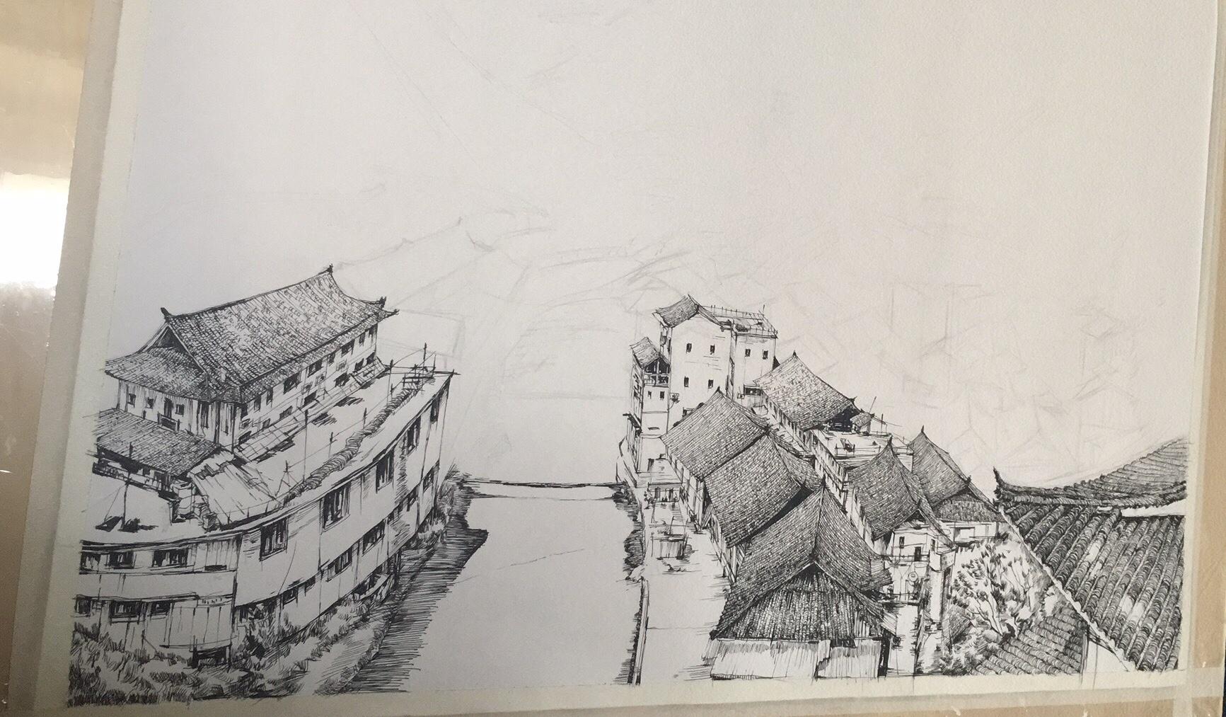 钢笔风景画