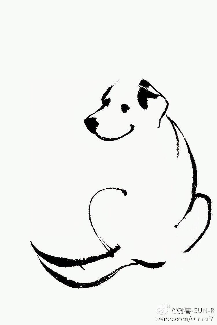 手绘小狗场景图