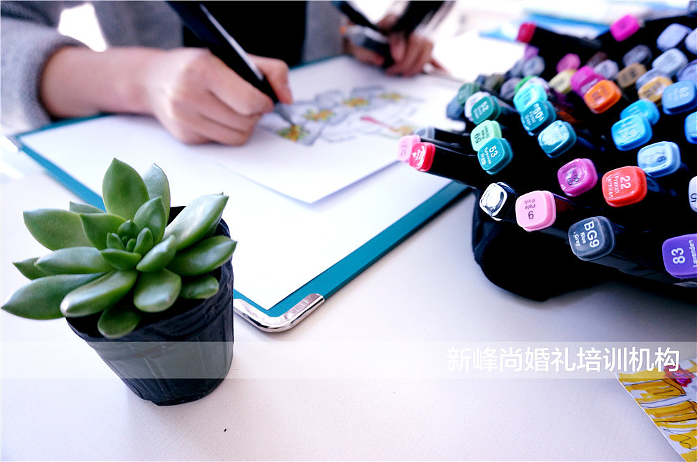 长形桌花的手绘效果图# 2401550899 婚礼展示区布置赏析,花艺,陶艺