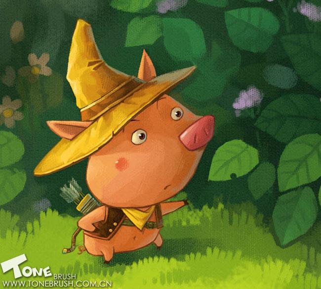 森林里的三只小猪||插画|小新插画