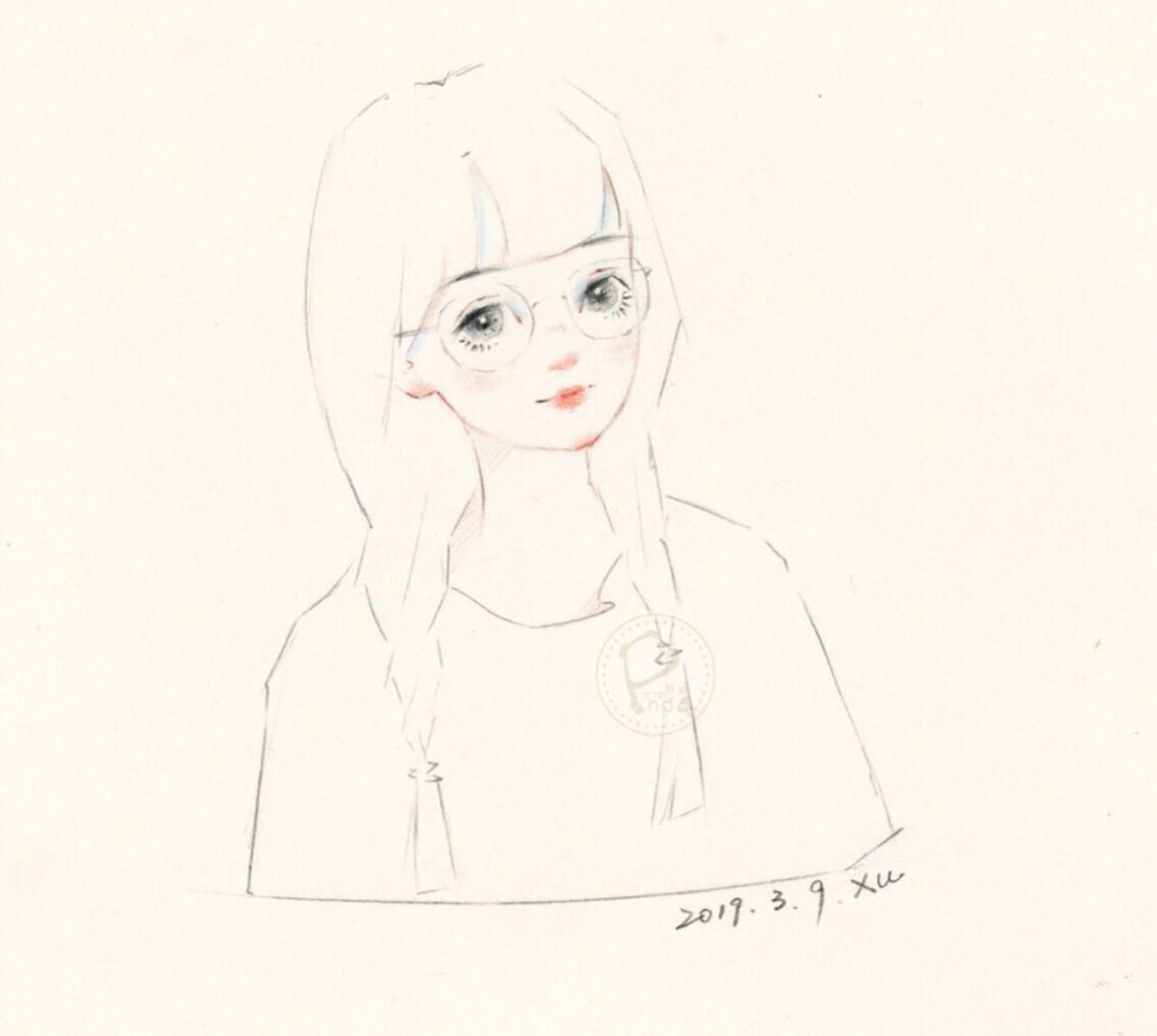 水彩线稿卡通手绘少女插画性感可爱彩铅头像壁纸图片