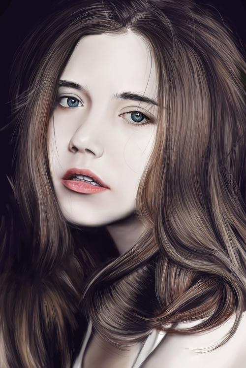 彩铅手绘人像美女