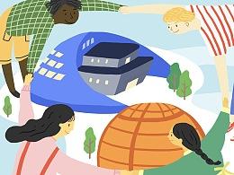 【商业插画】世界的眼睛看钱江新城插画海报设计