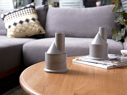 尘市集|水泥香器烟囱混凝土桌面收纳摆件创意外形设计