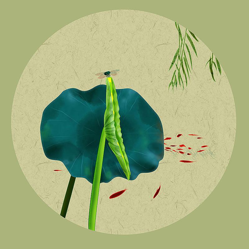 24节气小满古风原创手绘新中式水墨画