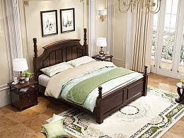 美式实木床家具表现