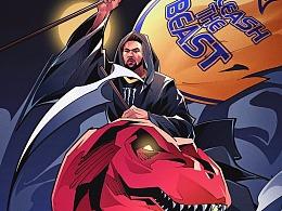 魔爪NBA總決賽系列故事插畫,金州勇士湯普森美漫卡通