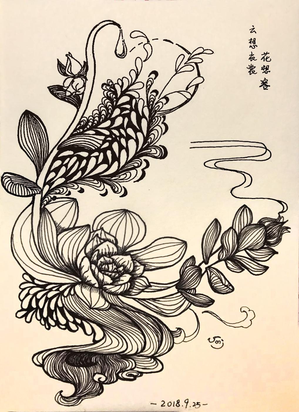 装饰画 插画 手绘 黑白