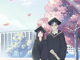 毕业季H5里5张插画