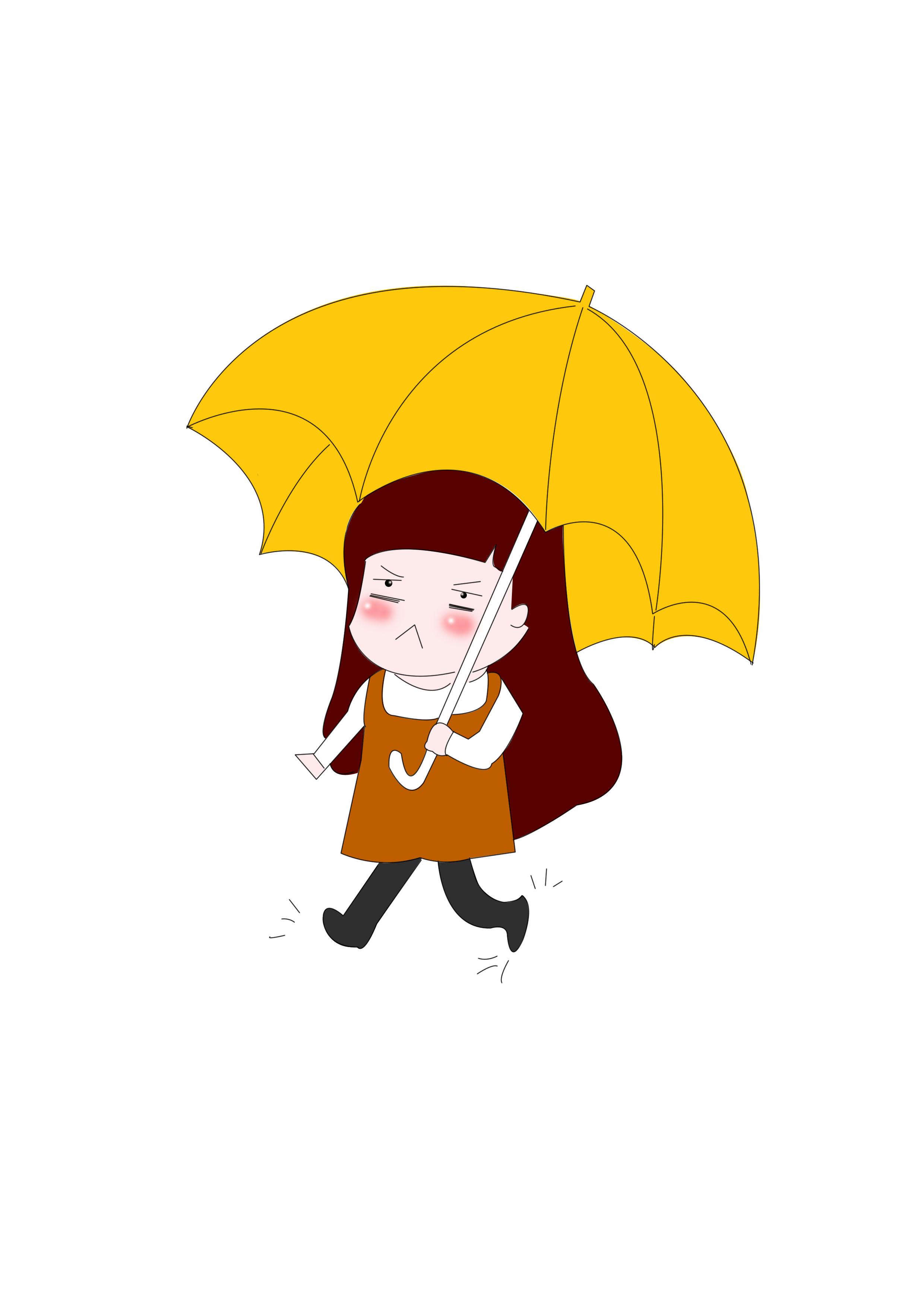 宝哥原创手机壁纸下雨天打伞不开心的小女孩