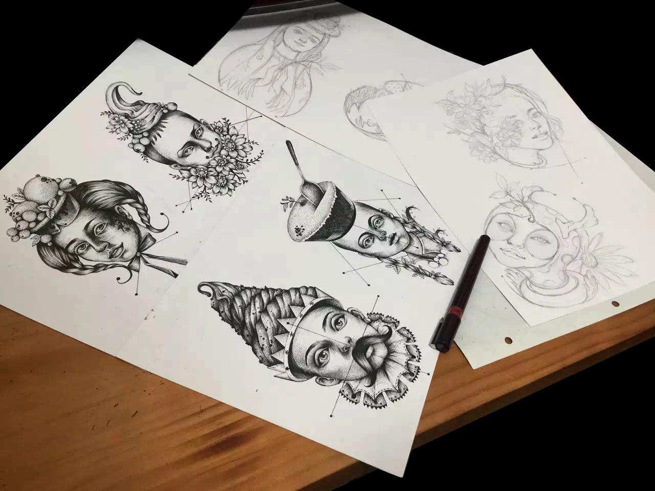 无邪抹茶系列标准建筑设计插画柱子