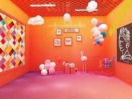 美陈房间装饰布置设计 3D效果图设计
