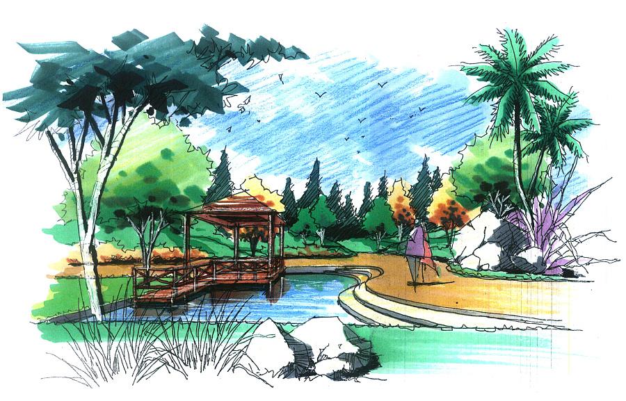 景观手绘作品|园林景观/规划|空间/建筑|zzdy.lx