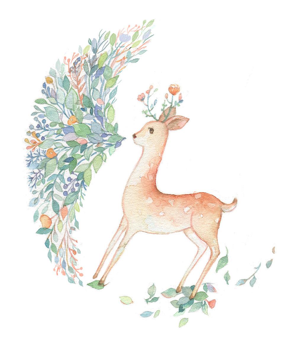手绘林森林星系鹿
