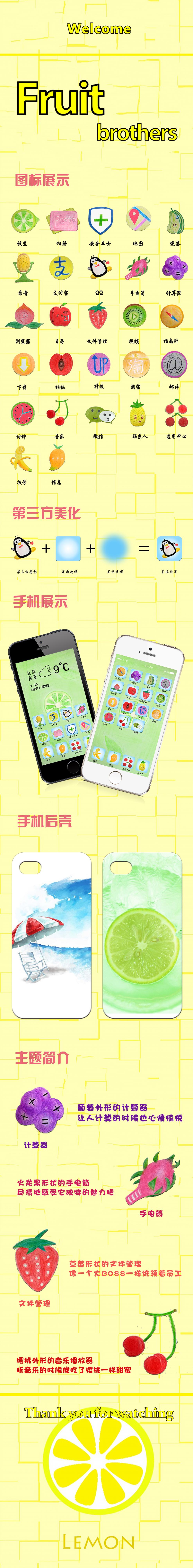 手绘水果手机图标